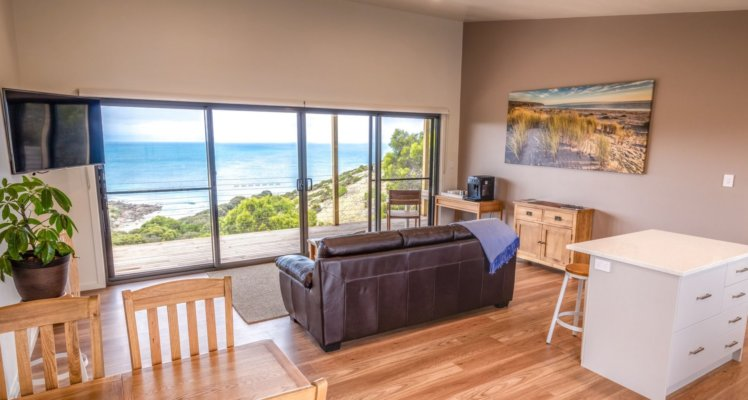 luxury seafront Kangaroo Island accommodation;kangaroo island accommodation; accommodation on Kangaroo island; Sea Dragon Lodge; Deluxe Eco Villa Living Area and Views