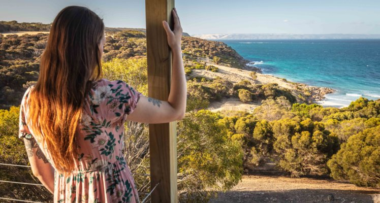 Kangaroo Island luxury seafront accommodation;accomodation on kangaroo island ; luxury accommodation on kangaroo Island; Sea Dragon Lodge; Deluxe Eco Villa Views from the deck